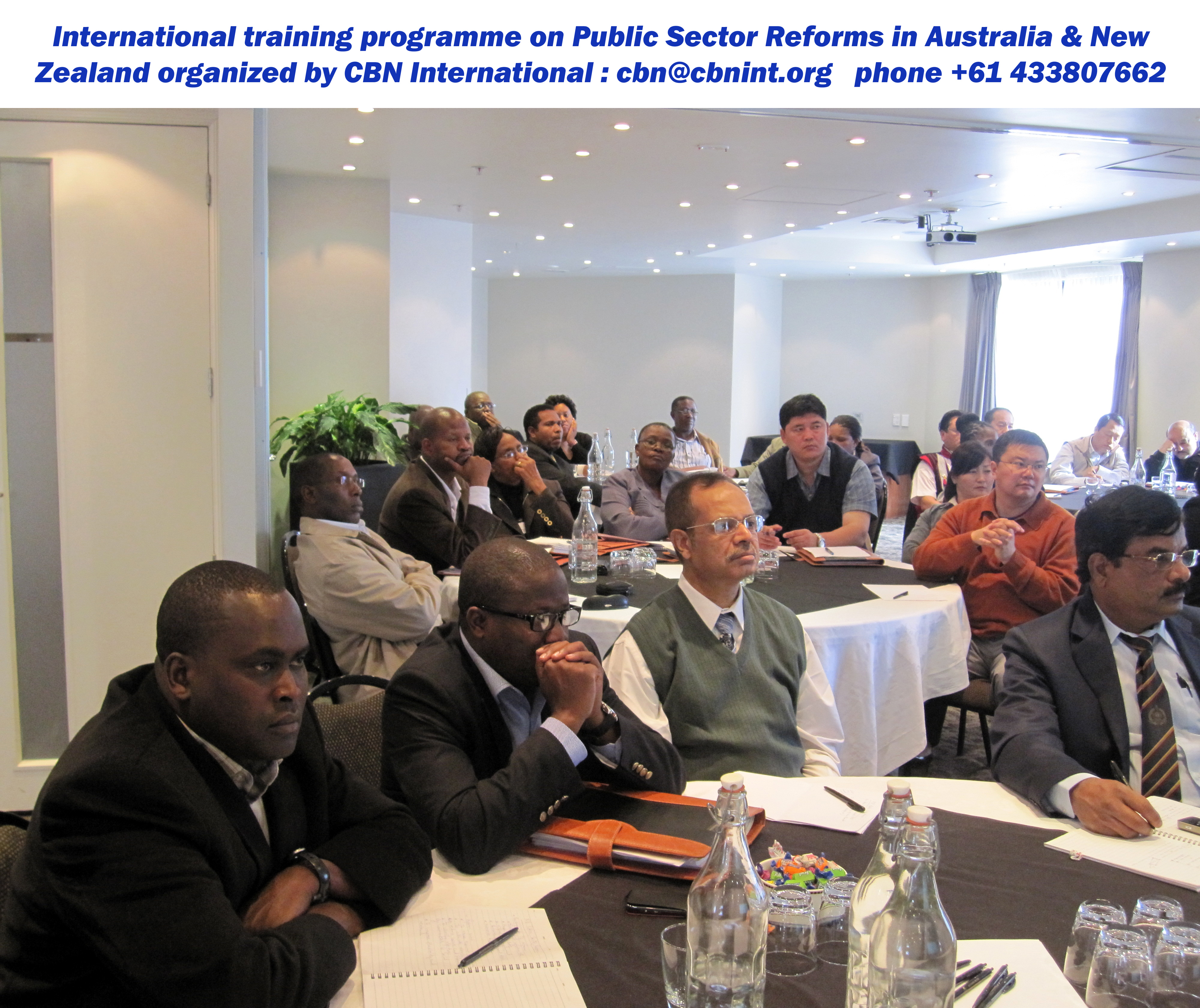 Classroom session of a CBN international training and study tour workshop held in Australia & New Zealand; short course on Good Governance series.