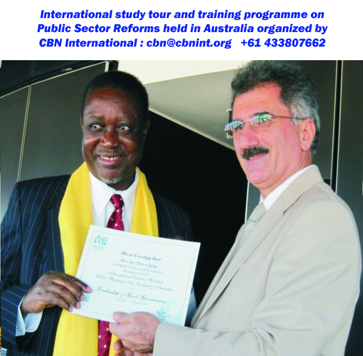 Dr. Behnam Tai, Managing Director of CBN, presenting a certificate to Hon. Dr. Oburu Oginga, Assistant Minister, Ministry of Finance, Kenya on completion of the international training and study tour workshop held in Sydney; short course on Good Governance series.