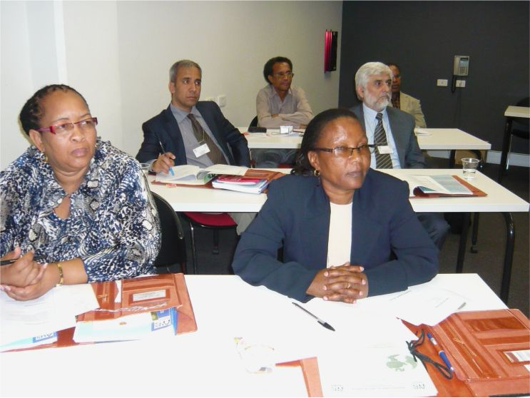 Hon. Executive Mayor Cllr. Eva Masese Moilwa (left front row) and other respected participants keenly focusing on the presentation during a CBN international training and study tour workshop held in Australia; short course on Good Governance series.