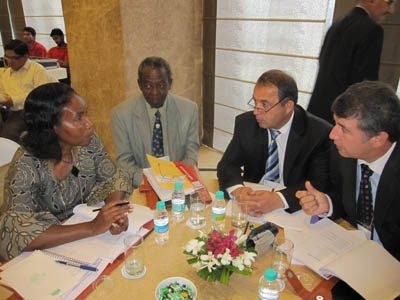 Ms Joy Murithi, Ministry of Finance, Kenya, Mr. Callist Sachore, President's Office, Tanzania, Mr. S.U. Rakhmonovich and Mr. K. Ibraghimov, Rural Dev. Project Tajikistan, during a CBN international training and study tour workshop held in India; short course on Good Governance series.