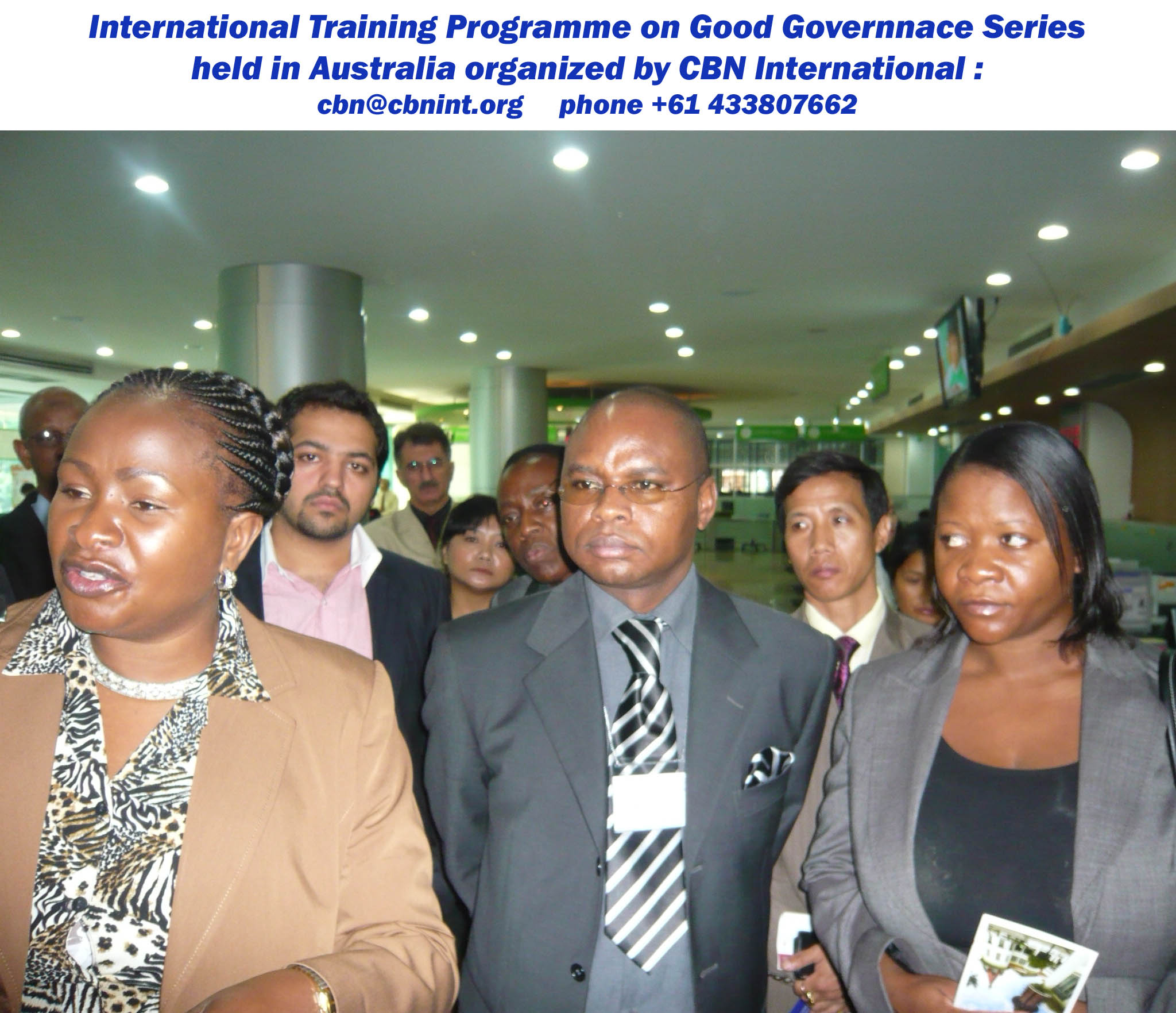 Ms Wavinya Ndeti, Hon. Assistant Minister Ministry of Youth Affairs & Sports, Mr. Amason Jeffah Kingi, Hon'ble Minister, Ministry of East African Community, Kenya and Ms Emma Mabvumbe, Assistant Budget Director, Ministry of Finance, Malawi with other participants during a field visit of CBN international training and study tour workshop held in Australia; short course on Good Governance series.