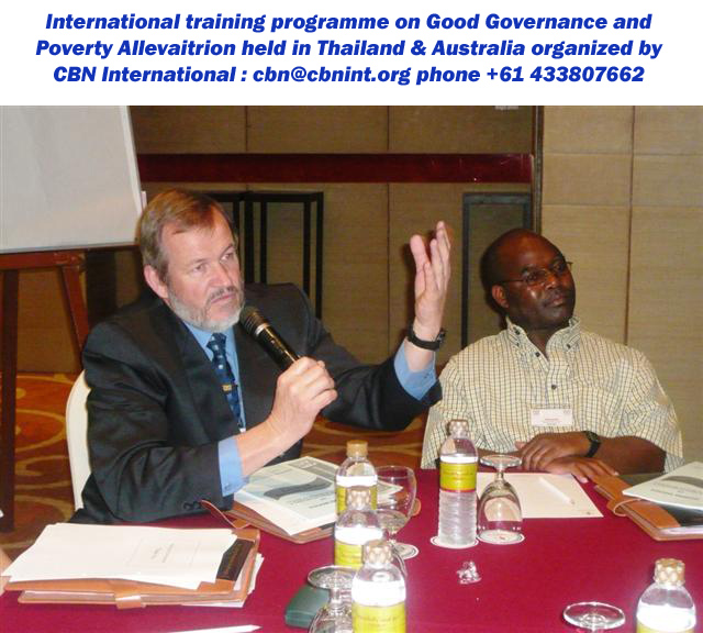 Classroom session of a CBN International training and study tour workshop held in Bangkok; short course on Good Governance series.