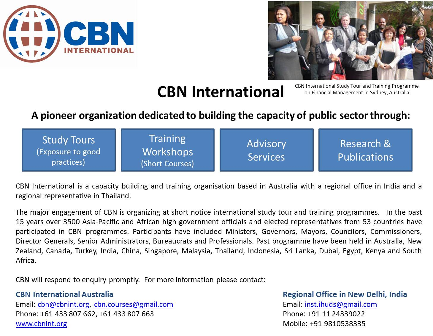 International Study Tour and Training programme organized by CBN International on Good Governance in Sydney, Australia