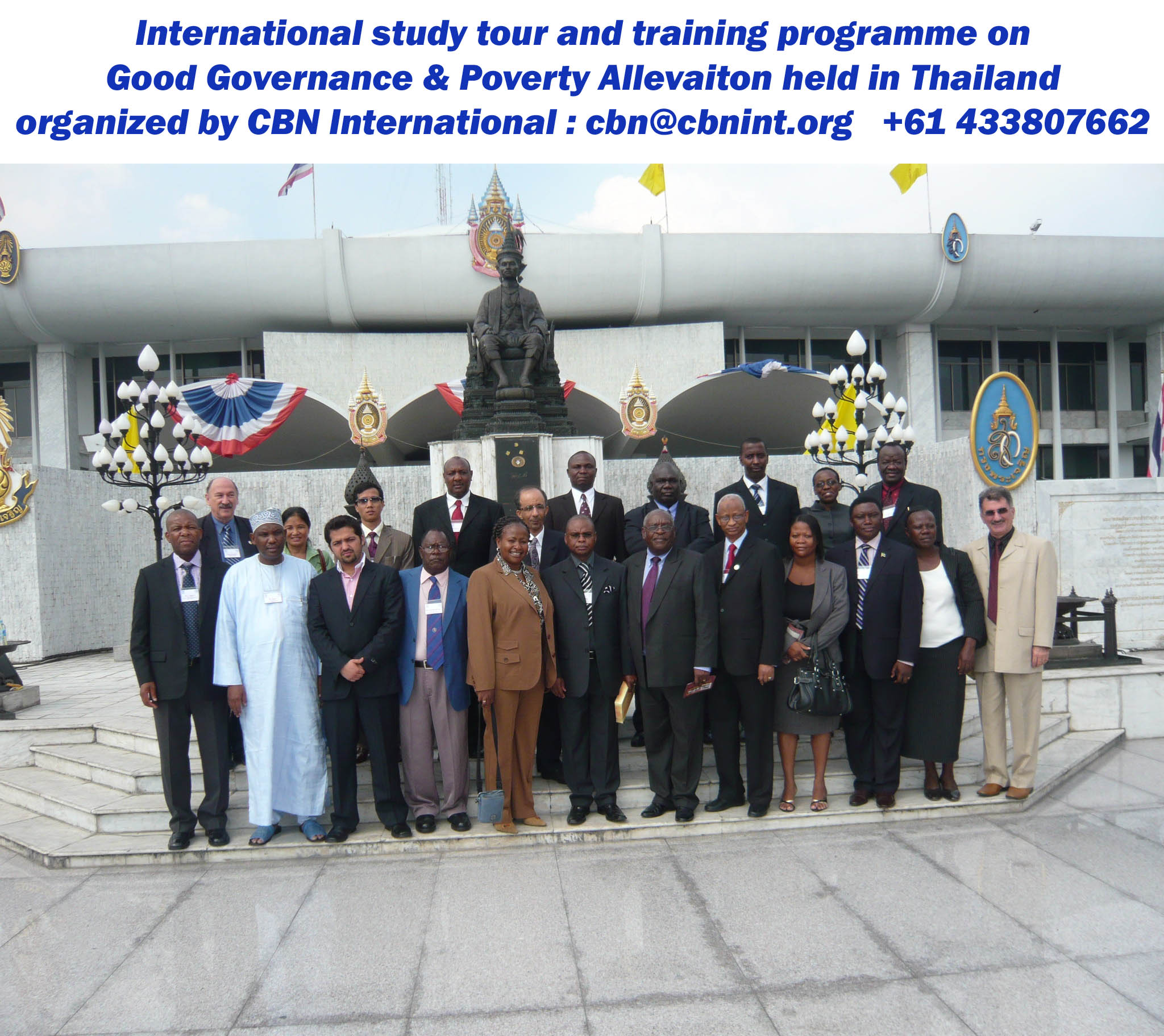 A group of distinguished participants from Kenya, South Africa, Nigeria, Afghanistan, Kuwait, Tanzania, Malawi and Papua New Guinea during a CBN international training and study tour workshop held in Bangkok; short course on Good Governance series.